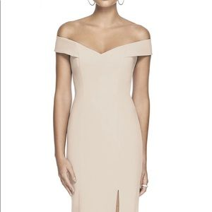 Dessy Collection Off-the-Shoulder Column Gown